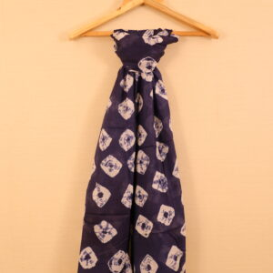 Navy Blue Colored Tie And Dye Printed Dupatta