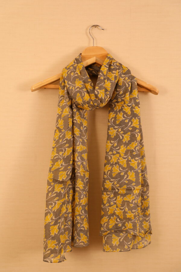 Yellow Colored Flower Printed Dupatta