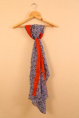 Blue-Red Colored Paisley Printed Dupatta